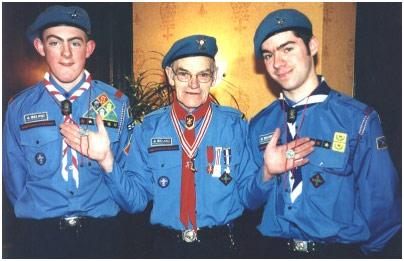 (L-R) Paul McSweeney, De La Salle; Peter Dixon, Chief Scout; Andrew Johnston, St. Pauls