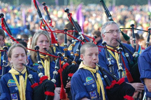 The De La Salle Scout Pipe Band play at the Scouting Sunrise Ceremony at the 2007 World Jamboree