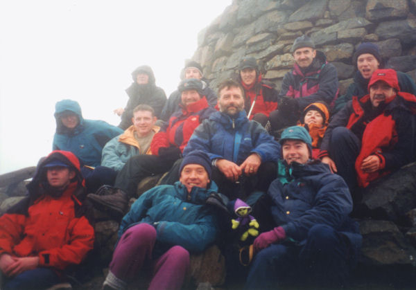 Billy Flynn, Paschal Guilfoyle, Betty Guilfoyle, Robert Windle, John O'Donohue, Gary Sinnott, Tom Casey, Colm Ennis, Pat Murphy, Paul White, Ian Sinnott, Billy Collins, Bernard Cunningham and Aidan Ennis at the summit of Scotland's highest point Ben Nevis (1344m)