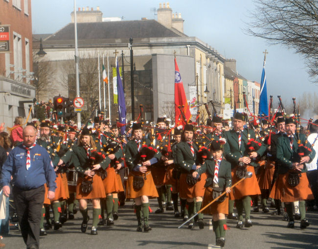 The De La Salle Scout Pipe Band on St. Patrick's Day 2009 in Waterford City