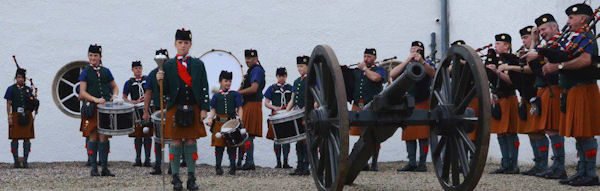 The De La Salle Scout Pipe Band at Blair Castle, Pitlochry, Scotland.