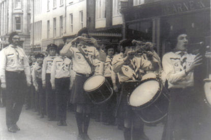 The Pipe Band pictured outside the Granville Hotel on the Quay in Waterford during the 1970s
