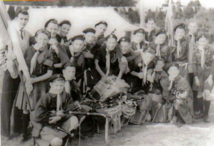 The Pipe Band pictured in front of the marquee on Annual Camp in Stradbally where it took place every year until 1955