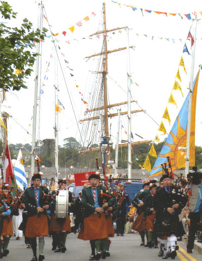 The Pipe Band at the crew parade during the Tall Ships Festival in Waterford in July 2005