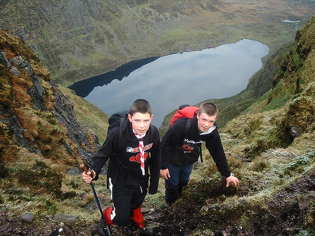 Eoin & Barry - members of the De La Salle Scout Group - at the top of the Southwest Gully at Coumshingaun.