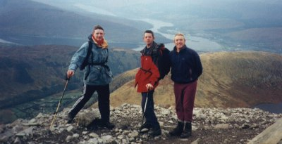 Gary Sinnott, Ian Sinnott and Tom Casey of the 13th overlooking Meall an tSuidhe on the ascent of Ben Nevis