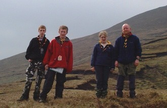 Members of the Thomastown Scout Troop on the 2000 Munster MPC/Sionnach before they climb Galtymore in the Galtees
