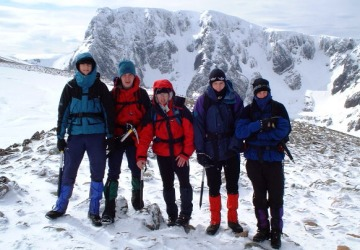 At the summit of Carn Mor Dearg before crossing the arete.