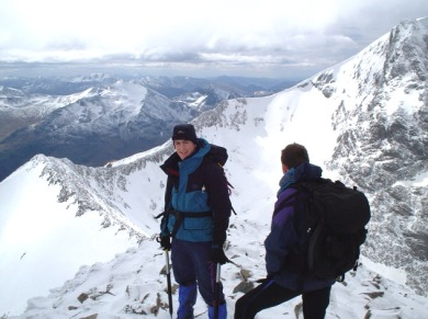 Crossing the Carn Mor Dearg Arete.