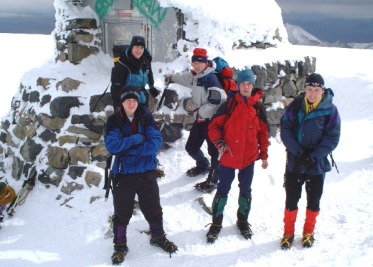 The lads pictured at the emergency shelter at the summit of Ben Nevis (1344m).