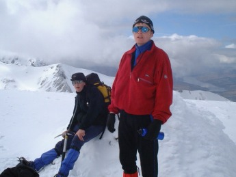 Paul McSweeney and John Kinsella at the summit of Aonach Mor.