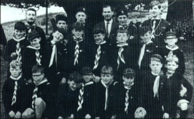 The first Macaoimh Pack including Back Row (L to R) Liam Butler, Brendan O'Shea, John Kavanagh, F. Cooney, Maurice Kavanagh and George Kavanagh (still the leader of the 3rd Pack). Also pictured are Paschal Guilfoyle, Ben Furlong, Liam Casey and Frank Grogan.