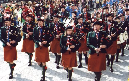The De La Salle Scout Pipe Band on St. Patrick's Day
