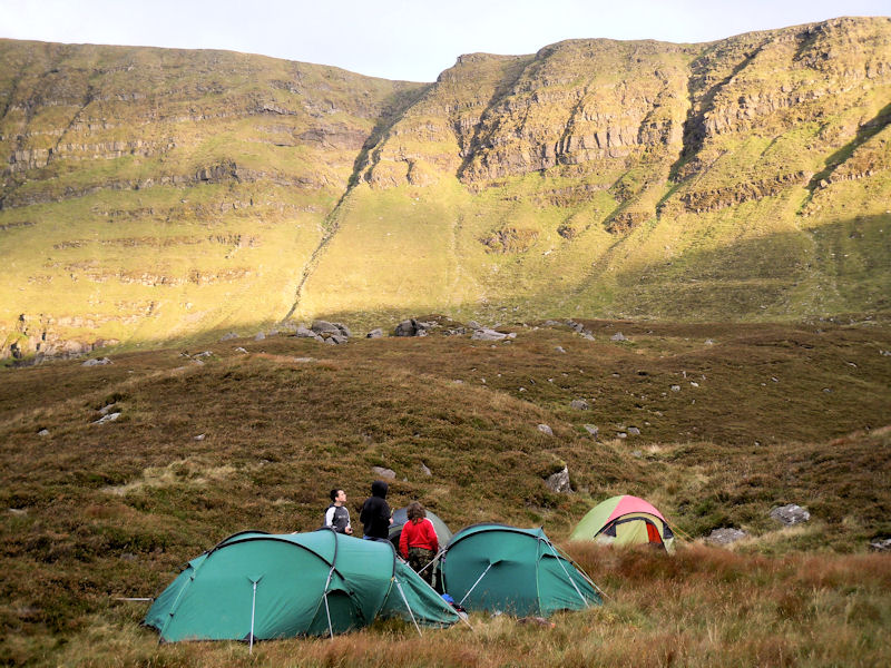 Scouts camped near the Scillogues in the Nire valley on a County Mountain Pursuit Challenge