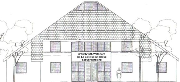 Drawing of the exterior of the new Scout den by the designer, Sean Hayes.
